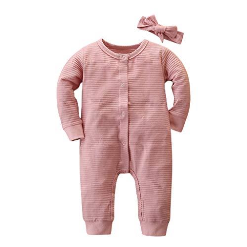 ➤Refill➤Strampler+ Stirnband für Baby-Mädchen,Winter Warm Overall 6-25 Monat Kleidung Set Langarm Stricken Strampler mit Kapuze Baby Toddler Neugeborenes Outfit