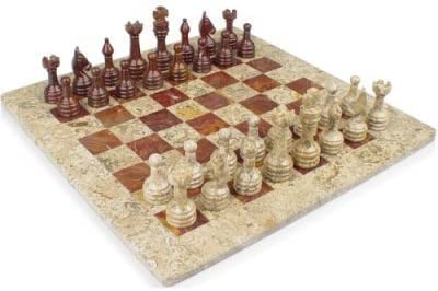 12x12 12x12 12x12 White Marble & Red Onyx Stone Chess Set by Marble 'n things B00ZDNXFEW 01435e