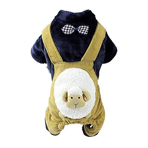 Lamm Kostüm Vintage - HYCy Haustierbekleidung Katze Hund, Passen Klein Mittel Hund Herbst Und Winter Baumwolle Mantel 4 Bein Lamm Latzhose, Party Bekleidung Kleidung (Farbe : Gelb, grouml;szlig;e : XL)