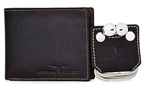 Urban Forest Gift Hamper for Men - Classic Brown Men's Leather Wallet and Dark Brown Earphone Organiser