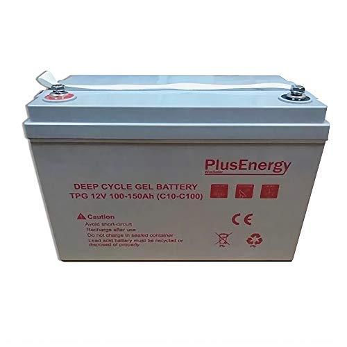 Ficha Tecnica Voltaje: 12V. - Modelo: TPG12-150 - Medidas: 329*172*214*mm (Larga*Ancho*Alta) - Peso: 31 Kg. - Marca: PlusEnergy. - Tipo de batería: GEL. - Sin mantenimiento. - Más de 3000 ciclos según IEC 61427. - Capacidad en C100: 150Ah y en C10: 1...