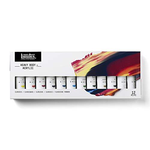 Liquitex Heavy Body Pintura acrílica Profesional, 12 Colores, Acrylfarben Set
