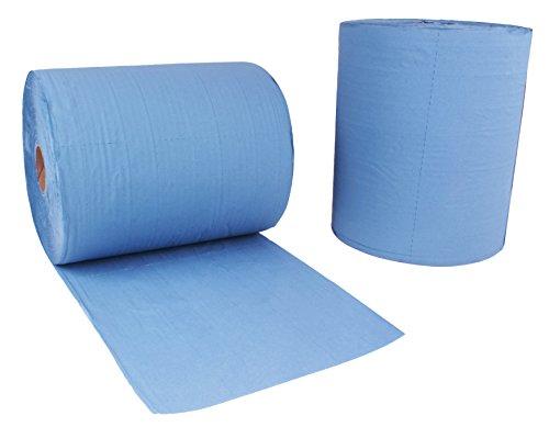 2 Stück Putzrollen blau | je 1000 Blatt 2-lagig | 36x38 cm | randverleimt geprägt und nassfest |...