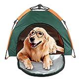 Tenda portatile impermeabile per cani di piccola e media taglia, rimovibile, esagonale, pop-up, con materassino, per esterno, spiaggia, campeggio