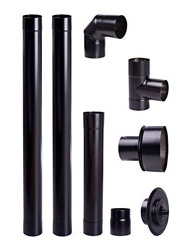 Noir mat Diamètre 80 mm Tuyau en acier inoxydable pour poêles à granulés, tuyau d'échappement, tuyau coudé pour poêles à granulés - Conduit de fumée de chrome-nickel pour poêles à granulés cheminée