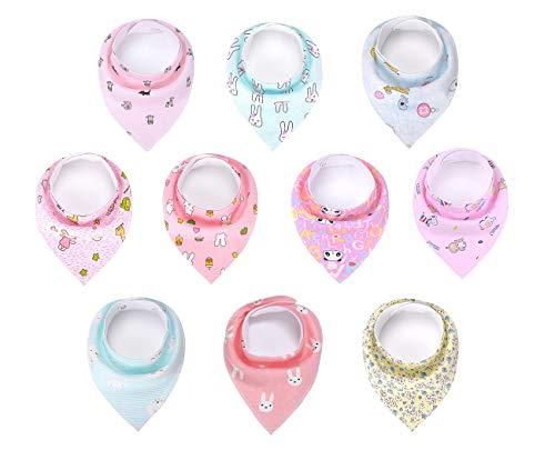 Baumwolle Baby Bandana Lätzchen, Sabber Lätzchen für Baby Jungen und Baby Mädchen 10 Stück - Für Bandana-lätzchen Baby