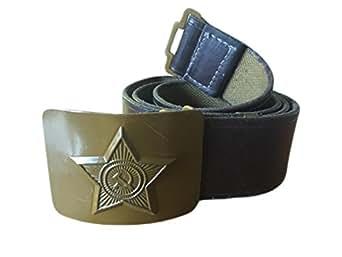 ganwear® Soviétique Russe URSS soldat militaire armée Ceinture en cuir imitation Boucle Vert en métal