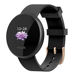 Reloj Inteligente Mujer,Reloj de Monitor de Ritmo cardíaco con Pantalla a Color, Pantalla de Reloj con Efecto de Despertador automático IP68 Reloj Inteligente Hombres (All Black)