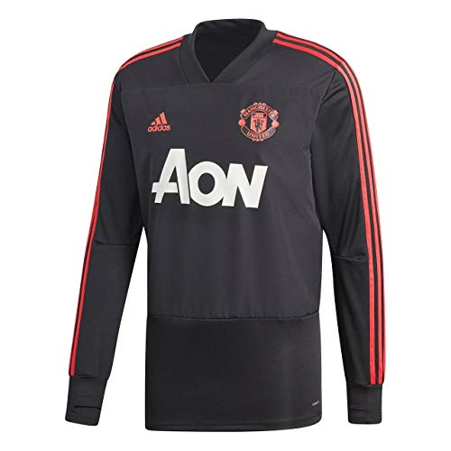 adidas Herren Manchester United FC Training Langarm Sweatshirt, Black/Blaze Red/Core Pink, XL - Manchester Pullover United