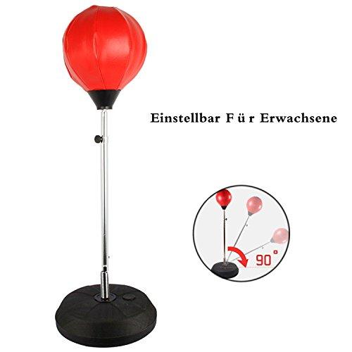 Punchingball Erwachsene Boxtraining Set mit Boxhandschuhen und Ständer Verstellbar Höhe 120-150 cm Rot