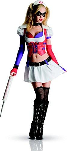 (Generique Harley Quinn Krankenschwester Kostüm für Damen aus Batman Arkham City S)