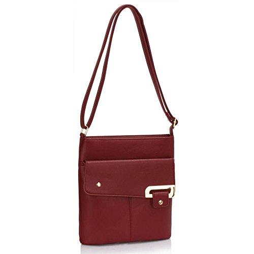 LeahWard® Genuine Umhängetasche Damen Essener Kunstleder Taschen Qualität Mode Essener nett Groß Handtaschen BURGUNDY Taschen
