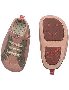 Anna und Paul - Krabbelschuhe aus Leder - Streetwear puderrosa Glitzer - mit Gummisohle