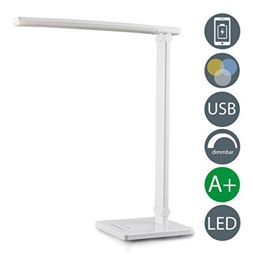 B.K.Licht LED Schreibtischleuchte 5W | Tischleuchte LED dimmbar mit USB-Ladeanschluss | Nachttisch-Leuchte faltbar für Schlafzimmer inkl LED-Leuchtmodul | Schreibtischlampe LED mit 7 Helligkeitsstufen und 5 Farbtemperaturen | Nachttisch-Lampe mit Touch Control, Lampe Tischlampe Kunststoff Weiss 500lm | 230V | IP20 [Energieklasse A+]