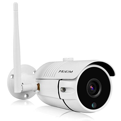 PRIKIM Überwachungskamera IP Camera 720P Drahtlos WiFi Bullet IP Kamera IR Nachtsicht Wasserdicht, Bewegungserkennung Alarm für Home Surveillance System Windows/iOS/Android unterstützt - Home-security-kameras Außerhalb Der
