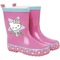 Botas de Agua para Niñas Hello Kitty - Botines Impermeables con Suela Antideslizante y Cierre con Cordón para Niña - Rosa - 5 Tallas Diferentes - Perletti (24/25)