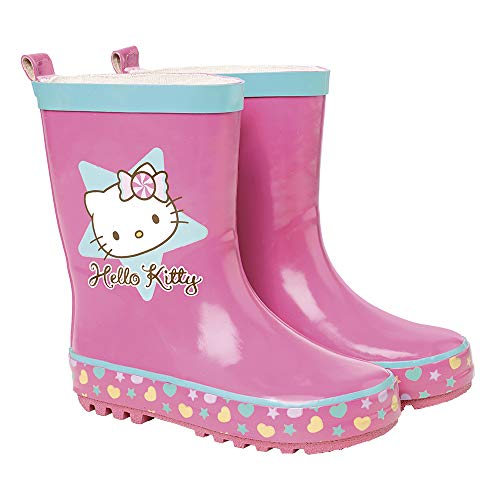 PERLETTI Hello Kitty Cat Rain Boots for Girls - Waterproof Wellies Shoes with Anti Slip Outsole - Colored Wellington for Girls with Cat Hearts and Star - Pink Light Blue - 5 Size
