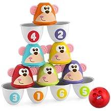 Chicco - Bolos Monkey Strike 2 en 1, con pelota incluida