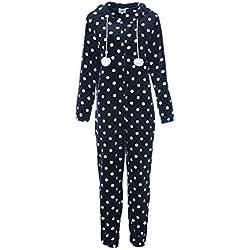 Zhhlinyuan Confortable Doux Flanelle Grenouillère Combinaison Pyjama Femme Casual Jumpsuit Homewear - Body Warm Tout en Un Onesie Pyjama pour Hiver