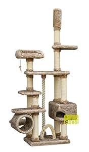 Europet Arbre à chat avec grattoir avec lit avec coffre, 12x 76x 56/240–265cm, marron