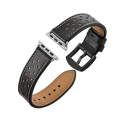 Janly Bracelet en Cuir véritable Attrayant et Attrayant avec Bracelet de Rechange Compatible for Apple Watch Series 3/2/1 42MM / Apple Watch Series 4 44MM (Noir)