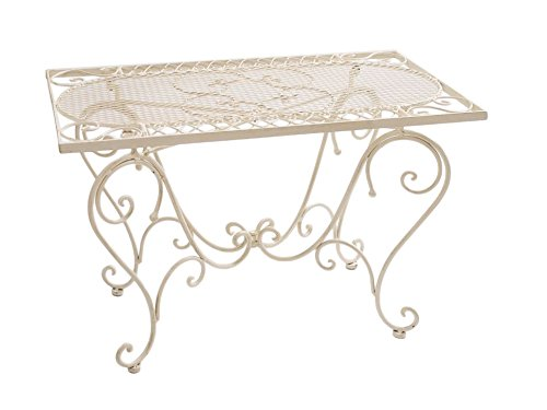 Tavolo da giardino in ferro battuto Nostalgia 12 kg stile antico bianco Table