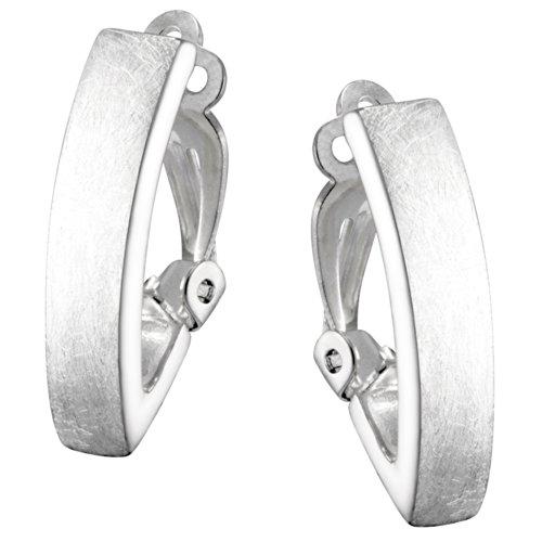 Vinani Ohrclips gebürstet Sterling Silber 925 Ohrringe LLK