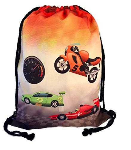 HECKBO® Jungen Jungs Kinder Turnbeutel - Racing Rennauto Motorrad Race Formel 1 Motiv - waschmaschinenfest - 40x32cm - Kindergarten, Krippe, Reise, Sport - Rucksack, Tasche, Spieltasche, Sportbeutel