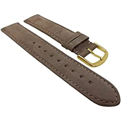 Herzog watch strap Brown Suede | Replacement Tape 16 mm - 22 mm - available in brown, Width: 18 mm, Clasp: Golden Bridge