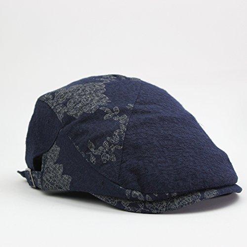 GUYOULY Printemps Et Automne Chine Vent Cap Femelle Beret National Vent Avant Cap Homme Coton Respirant Chapeau Homme Voyage,56-58Cm,Bleu B