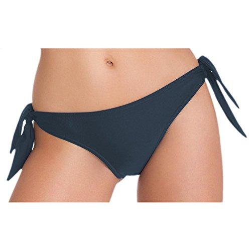 Aquarti Damen Tanga Bikinihose Seitlich Gebunden Brasilian, Farbe: Graphit, Größe: 36