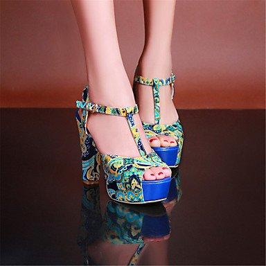 LvYuan Damen-Sandalen-Kleid Lässig-Kunstleder Stoff-Blockabsatz-Andere-Blau Orange Blue