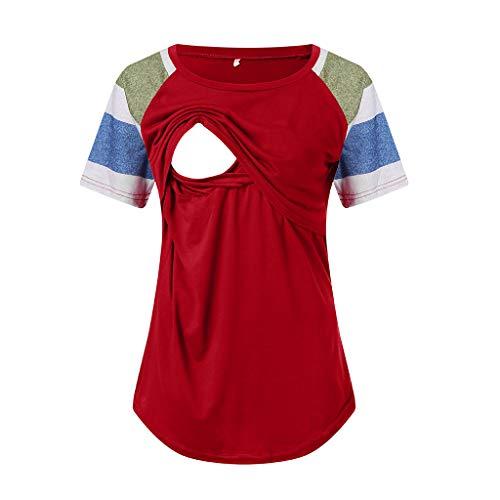 Mutterschafts Kurzarm Gestreifte T-Shirt Umstandsmode Bluse Stillen Baby Tuniken Herbst Umstandshirt Unterhemd Tops Schwangerschaft Basic Stillzeit Bauchfrei Oberteile