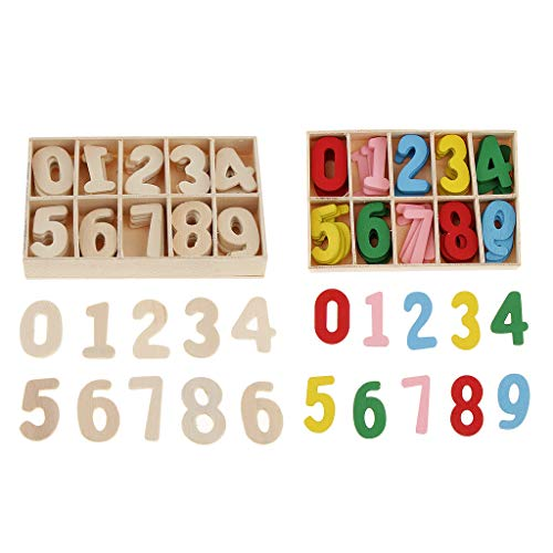 IPOTCH 2 Boxen 60 Stück Bunte Hölzerne Arabische Zahl 0~9 Pädagogischen Spielzeug für Kinder