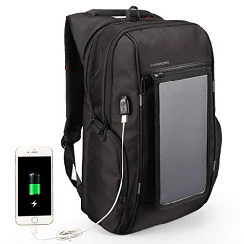 Solar Backpack 15,6/17 Zoll Mit detachierbaren Dual USB Fast Charging Solar Panel Laptop Rucksack Travel Rucksack Business Bag Casual Commuter Rucksack für Ipad Smartphone,17inch -
