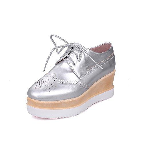 Agoolar Schuhe Pumps Material Zehe Silber Weiches Quadratisch Damen Mittler Absatz Wedges SxrESz