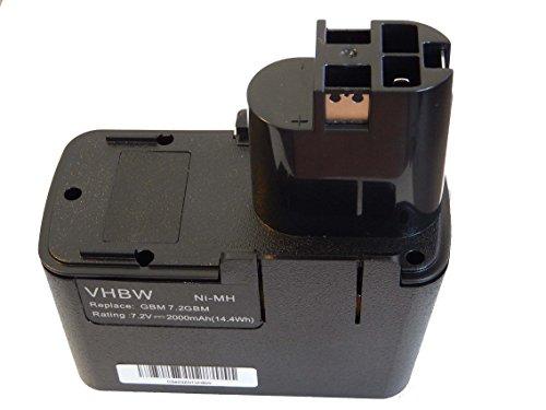 vhbw NiMH Akku 2000mAh für Elektrowerkzeuge Bosch GUS 7.2, PSR 7.2VES-2 wie 2607335031, 0601936771, u.a.