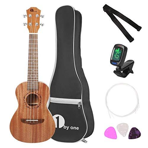 1byone Ukulele Soprano Mahagoni Ukulele 23 Zoll mit Digital-Tuner, 3 Plektren, Gurt und schwarzer Gitarrentasche