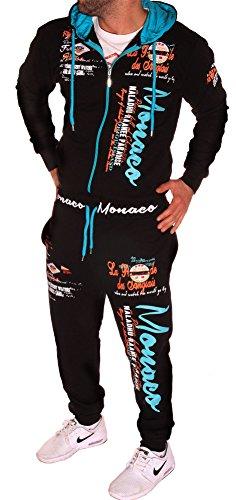 'Tuta da jogging da uomo tuta Jogger Monaco 2168 Nero e Turchese  XL (fällt (Classic Fit Rugby)