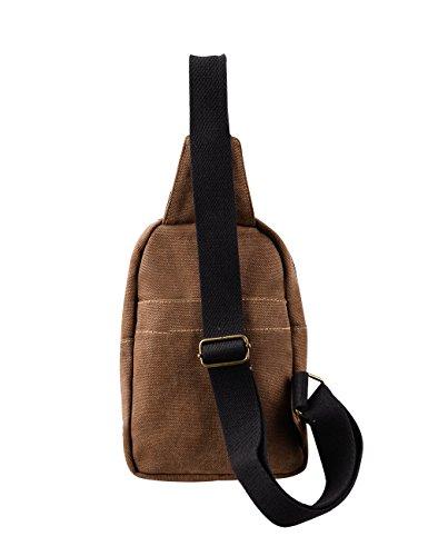 Douguyan Canvas Unisex Brusttasche Damen Herren Shoulder Tasche Schultertasche Jungen Sporttasche Kinder Dunkelbraun E00214 Dunkelbraun
