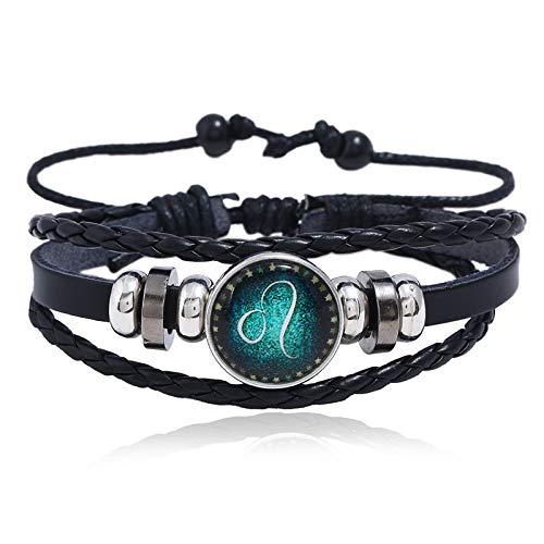Zuiaidess Stein Armband,12 Sternbilder Leder Armband Männer Mode Titan Stahl Classic Trendigen Armband Für Männer Schmuck Geschenk, Leo