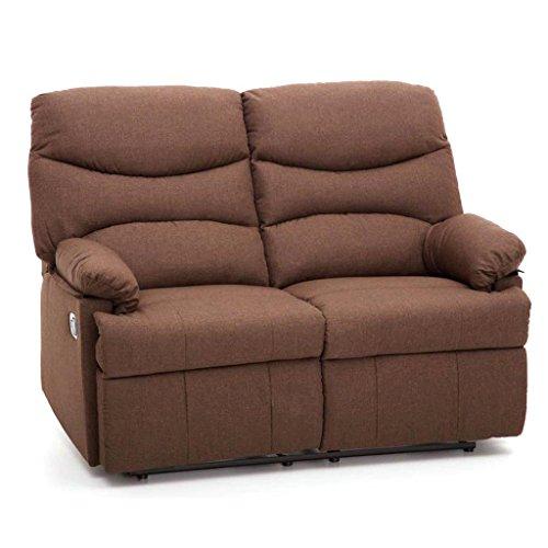 Divano divanetto 2 posti con reclinatore manuale in tessuto my living karol marrone