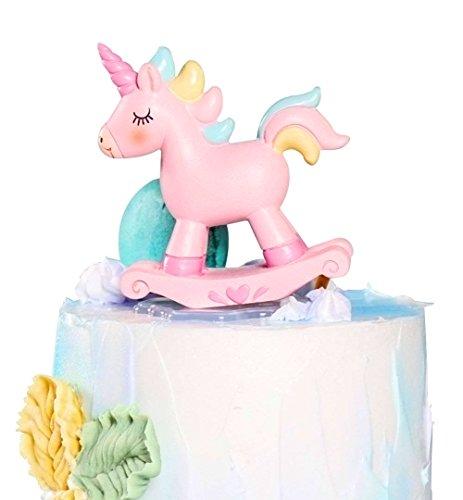 Bonita decoración para tarta de unicornio, KOOTIPS 3D unicornio Happy Birthday Twinkle DIY purpurina primer cumpleaños cupcake decoración para tarta Smash vela alternativa fiesta hecha a mano