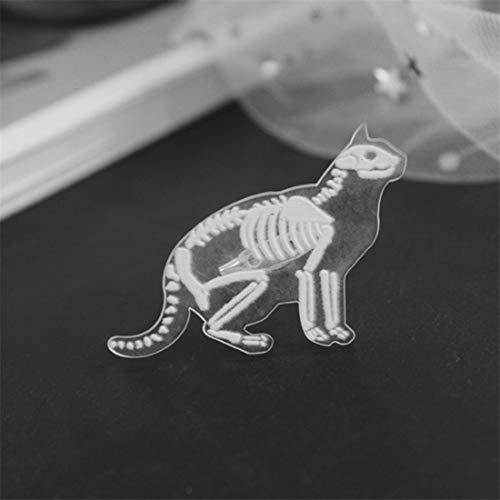 LGJJJ Unisex Kunststoff Tier Skelett Brosche Kreative Einzigartige Stil Kaninchen Pinguin Transparent Corsage Pin Harz Brosche, Kat (Tier Pins Und Broschen)