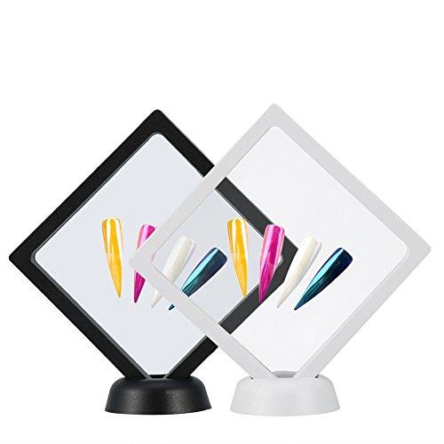 2 Stück Rhombus Nail Art Display Stand Rahmen - Nail Display Board mit Montage Acryl Nail Plate und PET Dünnfilm Präsentations display- 4.3 * 4.3inch Nail Tips Rack Tool