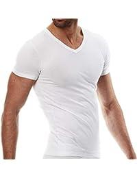 Sergio Tacchini, Set da 6 Magliette Intime Uomo in Cotone Elasticizzato Modello a V.