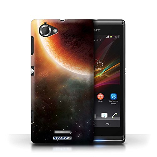 Kobalt® Imprimé Etui / Coque pour Sony Xperia L/C2105 / Éclipse Bleu conception / Série Cosmos Éclipse Orange