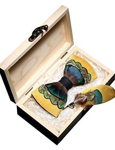 JEMYGINS Handgemacht Feder Fliege Mit Geschenkbox Set für Herren, Gelber Smaragd, M