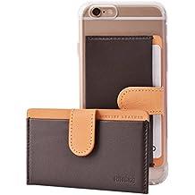 Ringke Genuein Identificación de Cuero / La Funda de Tarjeta Titular de la Cartera [MARRON OSCURO] 3M Adhesivo Etiqueta de la Tarjeta de Bolsa Se Pegue En Mini Adjunto Carpeta para el iPhone, Samsung Galaxy, LG, etc