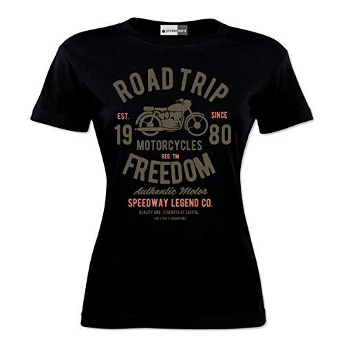 Ekate Road Trip Motorcycle Chopper Motocross Racer Racing Bike Biker Motorrad Woman Damen T-Shirt (S, Schwarz) (Trip Road Motorrad)